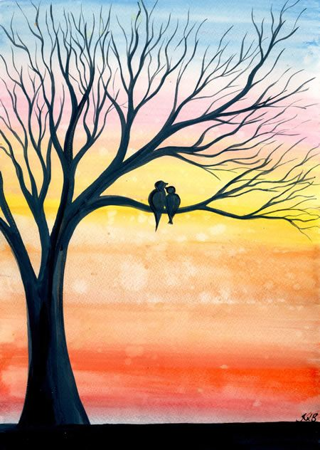 Easy tree painting ideas, love birds paintings, easy canvas painting ideas, easy acrylic paintings, simple wall art painting ideas for beginners, easy landscape painting ideas for beginners