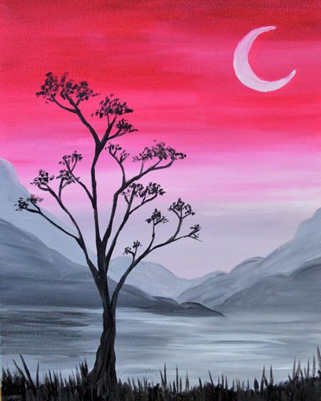 Easy tree painting ideas, night paintings, easy canvas painting ideas, easy acrylic paintings, simple wall art painting ideas for beginners, easy landscape painting ideas for beginners