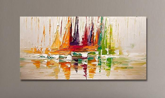 Abstract Landscape Art, Sail Boat Painting, Wall Art Paintings, Simple Modern Paintings for Living Room