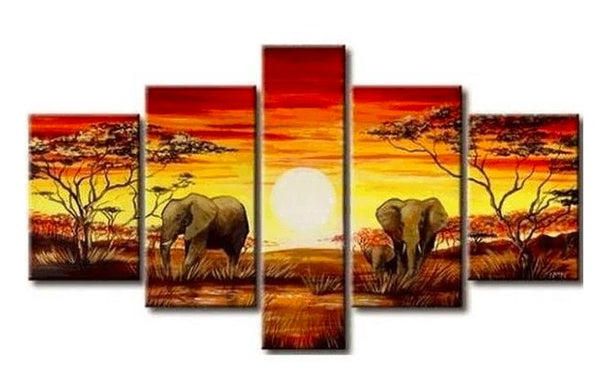 African Painting, Elephant Painting, Living Room Art, 5 Piece Wall Art