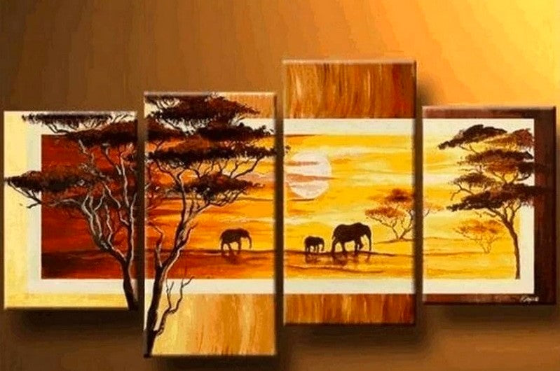 African Painting, African Animal Painting, Sunrise Painting, Living Room Wall Art, Acrylic African Paintings