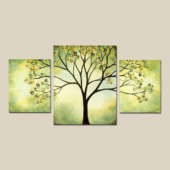 Tree of Life Painting, 3 Piece Painting, Paintings for Bedroom, Tree Landscape Paintings, Easy Tree Paintings, Wall Art Painting
