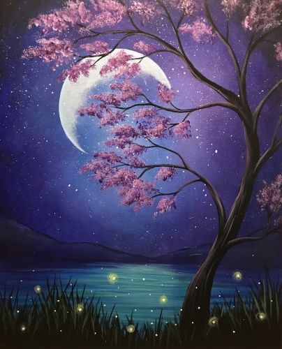 30 Easy Landscape Painting Ideas for Beginners, Easy Canvas Painting Ideas for Kids, Easy Tree Paintings, Easy Moon Tree Landscape Paintings, Simple Acrylic Painting Ideas on Canvas