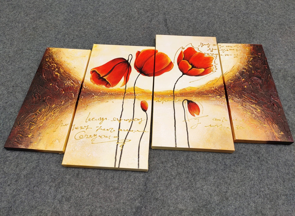 Flower Painting, 4 Piece Painting, Wall Art Painting, Acrylic Flower Painting, Abstract Flower Painting