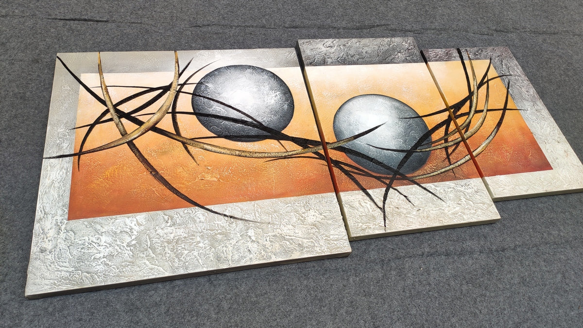 3 Piece Canvas Paintings, 3 Piece Painting, 3 Piece Wall Art, Abstract Modern Paintings, Modern Contemporary Painting