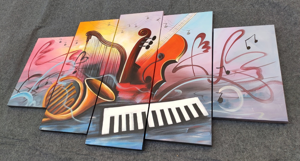 Music Painting, Violin Painting, 5 Piece Painting, Paintings for Living Room, Canvas Modern Painting