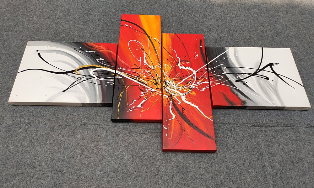 Simple Painting, 4 Piece Painting, Wall Art Painting, Living Room Wall Art, Acrylic Abstract Painting, Modern Contemporary Art