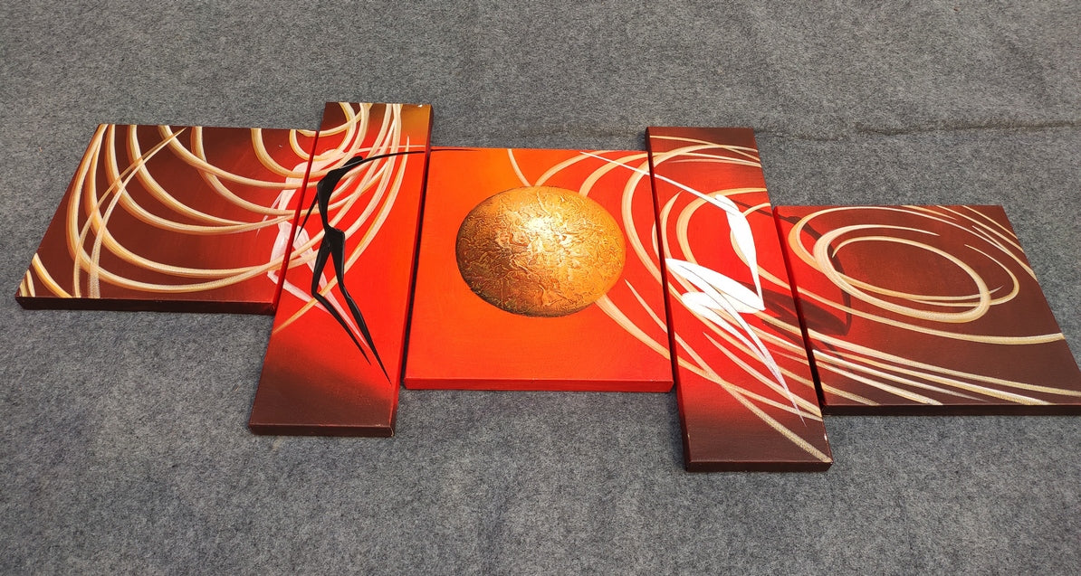 Multi Panel Canvas Art, Hand Painted Wall Art, Acrylic Paintings for Living Room
