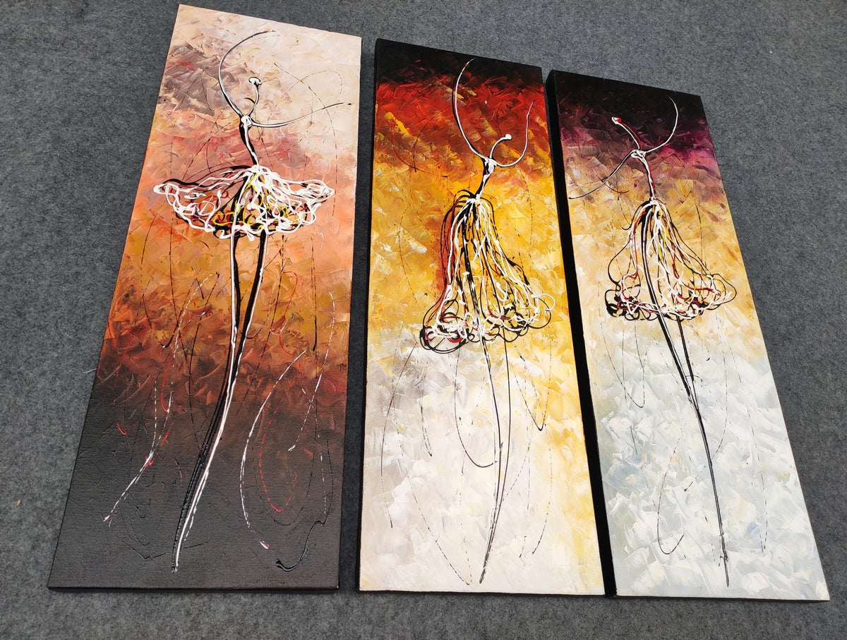 Ballet Dancers Painting, Modern Wall Art Paintings, Simple Abstract Paintings for Living Room, Hand Painted Canvas Art