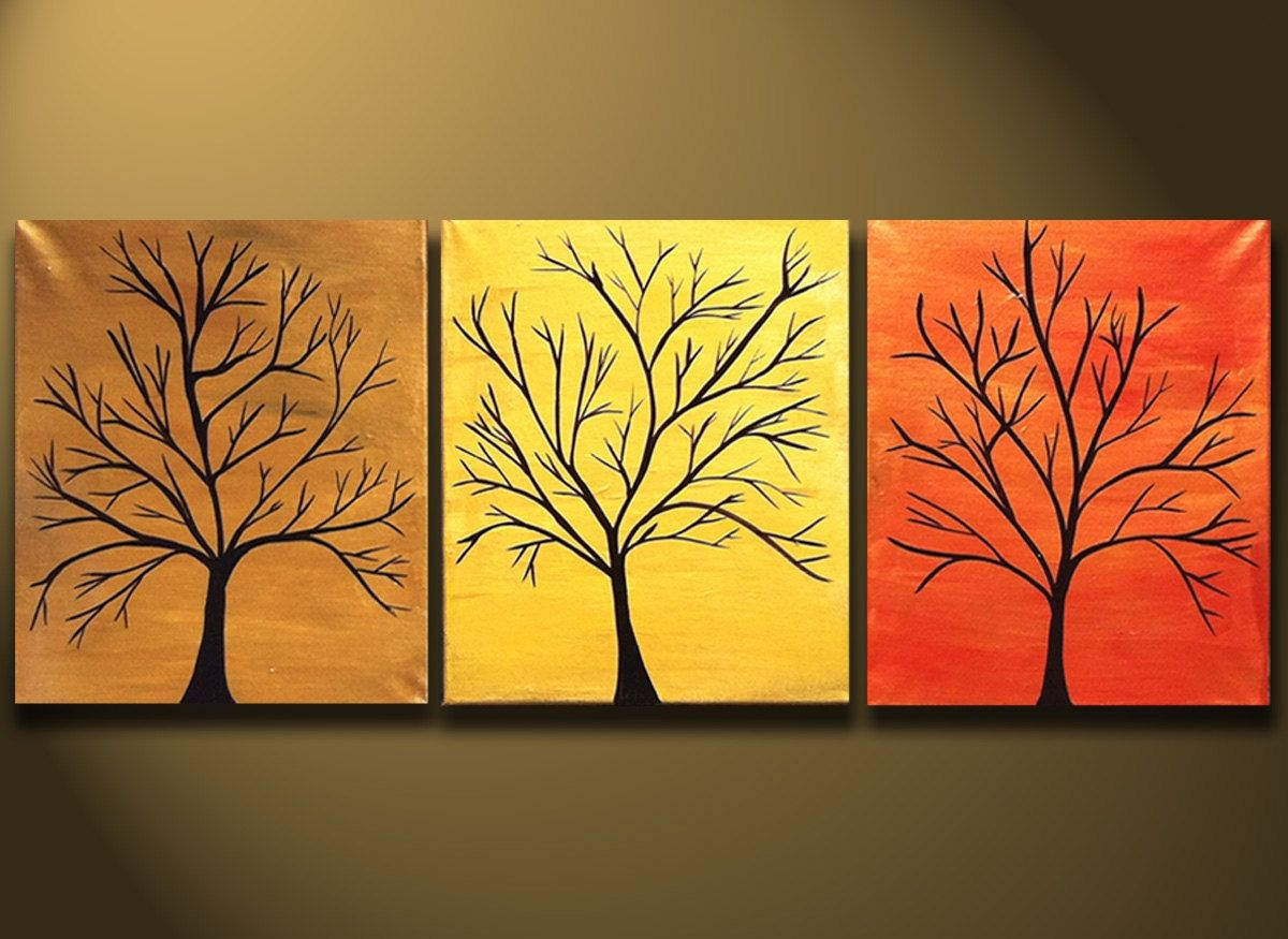 3 Piece Wall Art, Tree Painting, Easy Tree Landscape Paintings for Beginners, Paintings for Bedroom, Modern Wall Art Paintings
