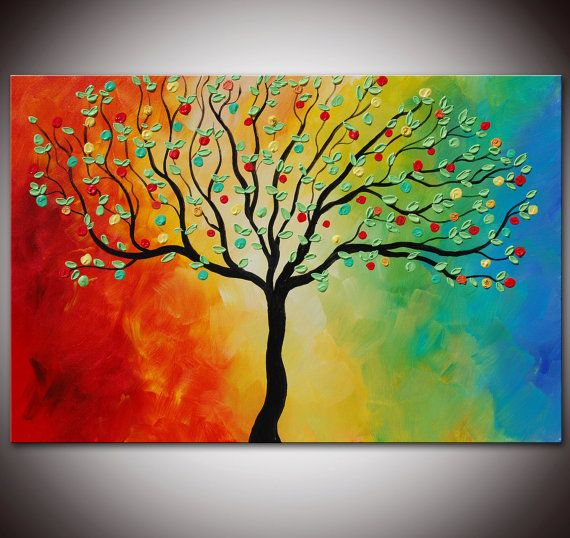 Easy Tree Painting Ideas for Beginners, Acrylic Tree Painting, Tree Canvas Art, Tree Landscape Paintings