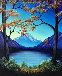 Tree Painting, Mountain Landscape Painting, Easy Landscape for Beginners, Wall Art Paintings