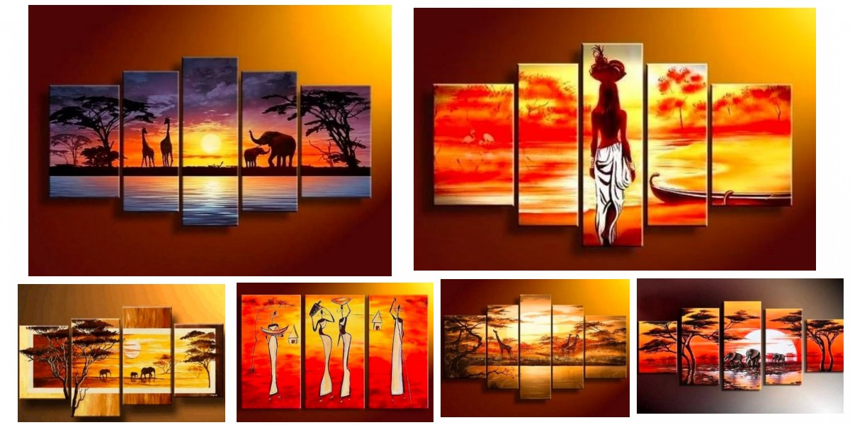 African Painting, African Woman Paintings, Landscape Painting, Paintings for Living Room, Acrylic Wall Art Paintings