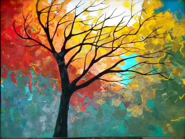 Tree Painting, Landscape Painting, Easy Tree Landscape Paintings for Beginners, Modern Painting