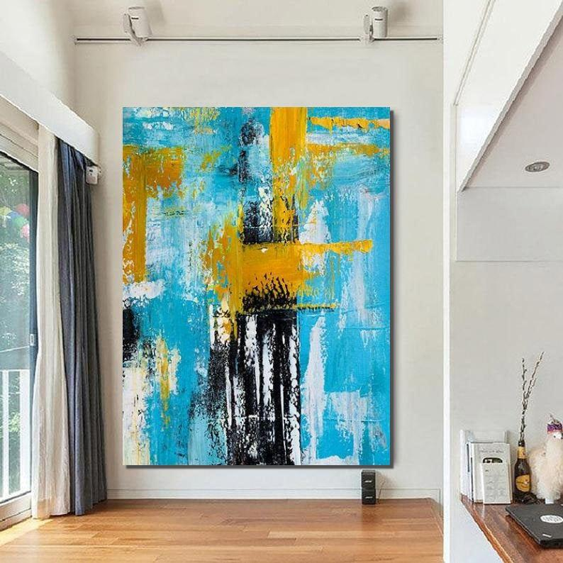 Large Modern Acrylic Painting, Wall Art for Dining Room, Hand Painted Wall Art Painting, Contemporary Canvas Artwork-Grace Painting Crafts