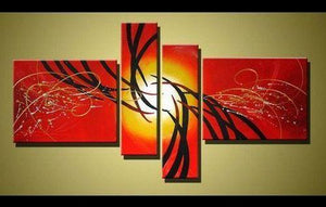 Red Abstract Art, 4 Piece Canvas Art, Acrylic Painting for Sale, Contemporary Art-Grace Painting Crafts