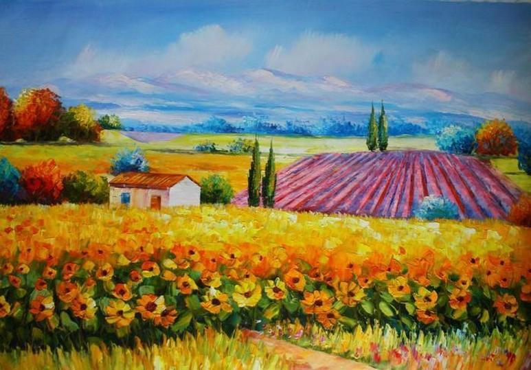 Canvas Painting, Landscape Painting, Sunflower Field, Wall Art, Large Painting, Living Room Wall Art, Cypress Tree, Oil Painting, Canvas Art, Autumn Painting-Grace Painting Crafts