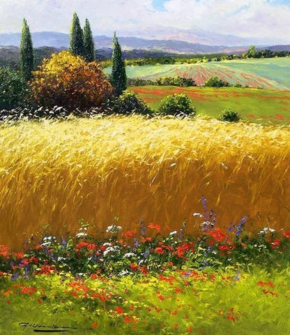 Canvas Painting, Landscape Painting, Wheat Field, Wall Art, Large Painting, Living Room Wall Art, Cypress Tree, Oil Painting, Canvas Art, Autumn Painting-Grace Painting Crafts