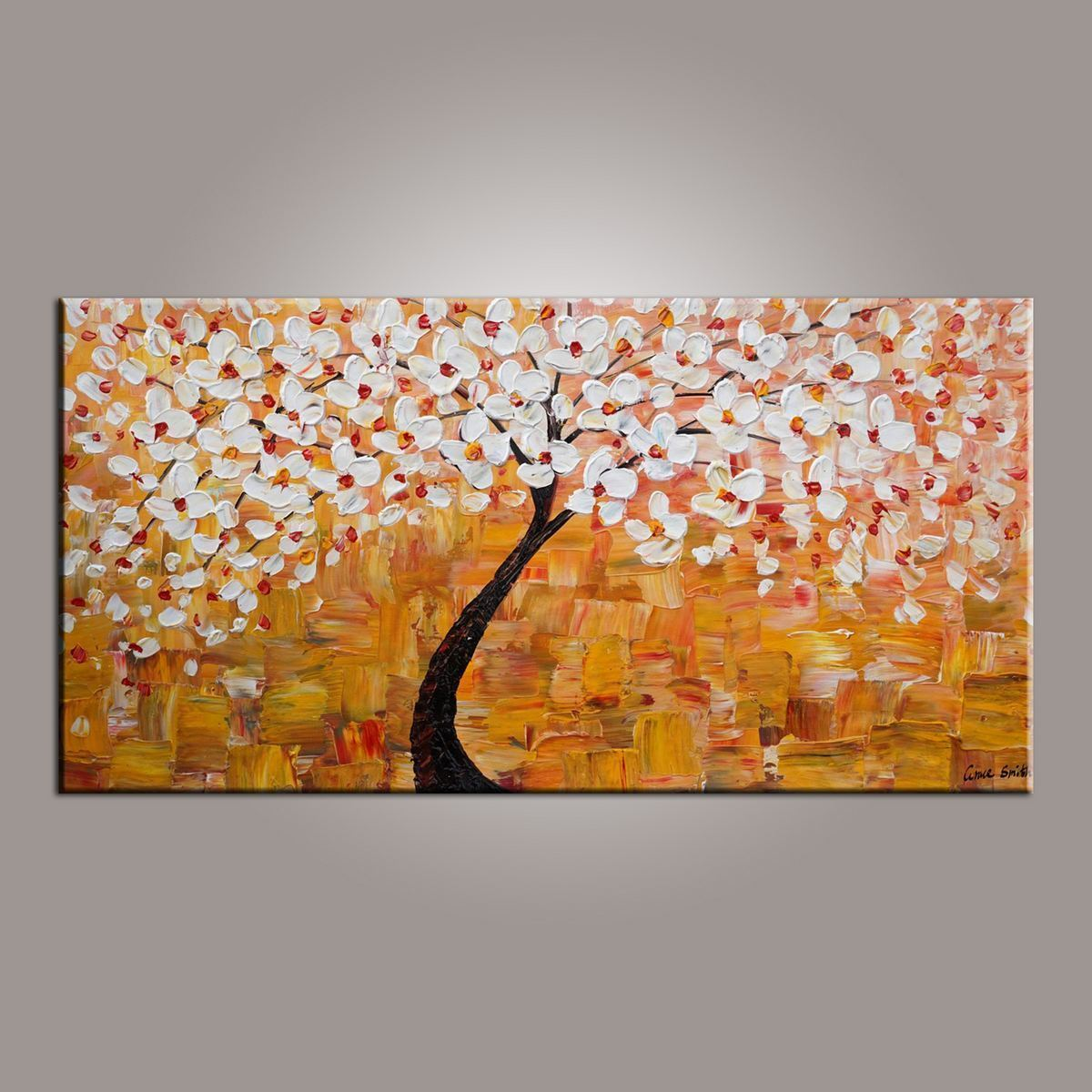 Art on Canvas, Flower Painting, Tree Painting, Acrylic Art Painting, Art on Canvas, Tree of Life Art, Texture Painting-Grace Painting Crafts