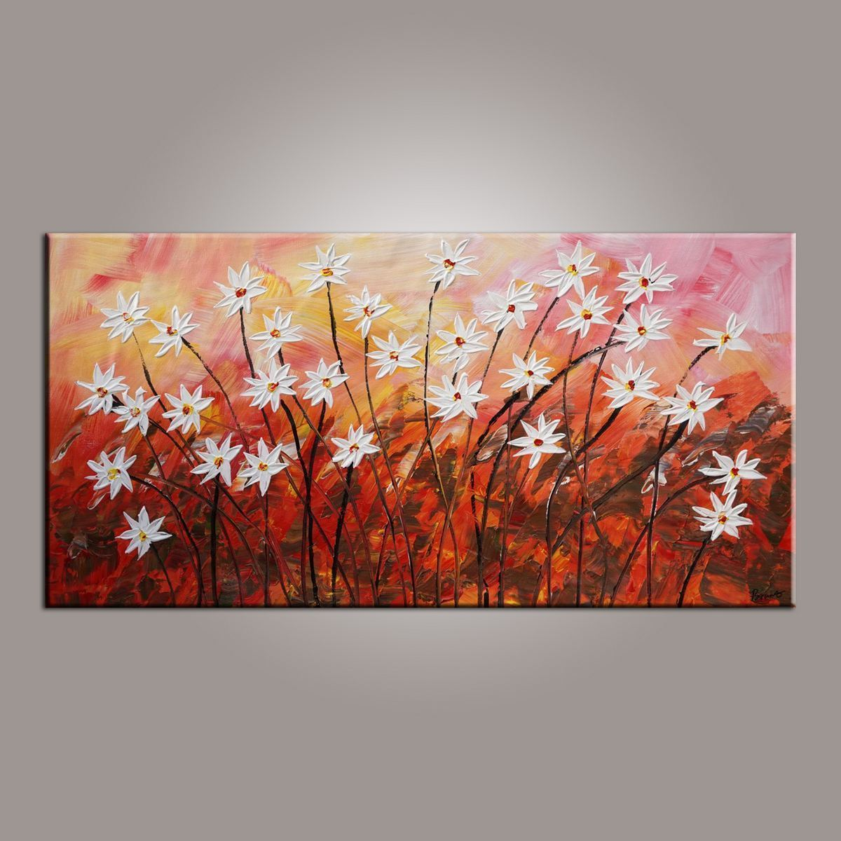Wall Painting, Canvas Wall Art, Flower Art, Abstract Art Painting, Acrylic Painting, Bedroom Wall Art, Canvas Art, Modern Art, Contemporary Art-Grace Painting Crafts