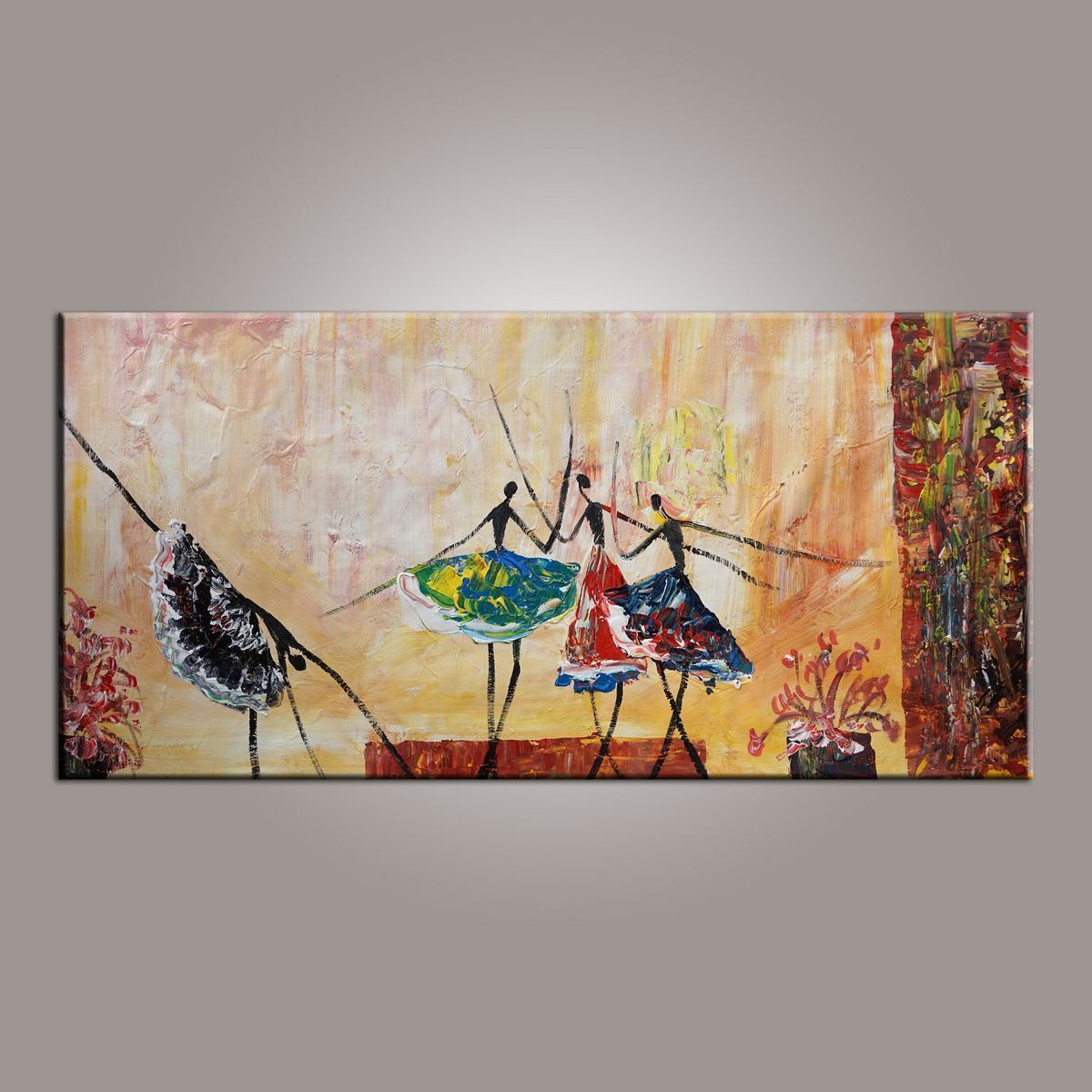 Canvas Painting, Large Art, Ballet Dancer Art, Abstract Painting, Abstract Art, Wall Art, Wall Hanging, Bedroom Wall Art, Modern Art, Painting for Sale-Grace Painting Crafts