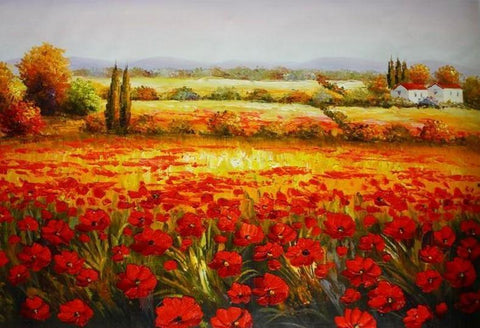 Canvas Art, Red Poppy Field, Large Art, Flower Field, Wall Art, Landscape Painting, Living Room Wall Art, Large Art, Oil Painting, Canvas Wall Art-Grace Painting Crafts