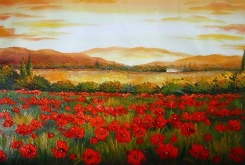 Canvas Art, Red Poppy Field, Large Art, Flower Field, Wall Art, Landscape Painting, Bedroom Wall Art, Large Art, Oil Painting, Large Wall Art-Grace Painting Crafts