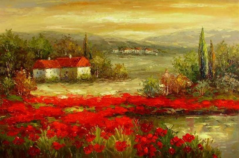 Flower Field Painting, Canvas Painting, Landscape Painting, Contemporary Wall Art, Large Painting, Living Room Wall Art, Cypress Tree, Oil Painting, Poppy Field-Grace Painting Crafts