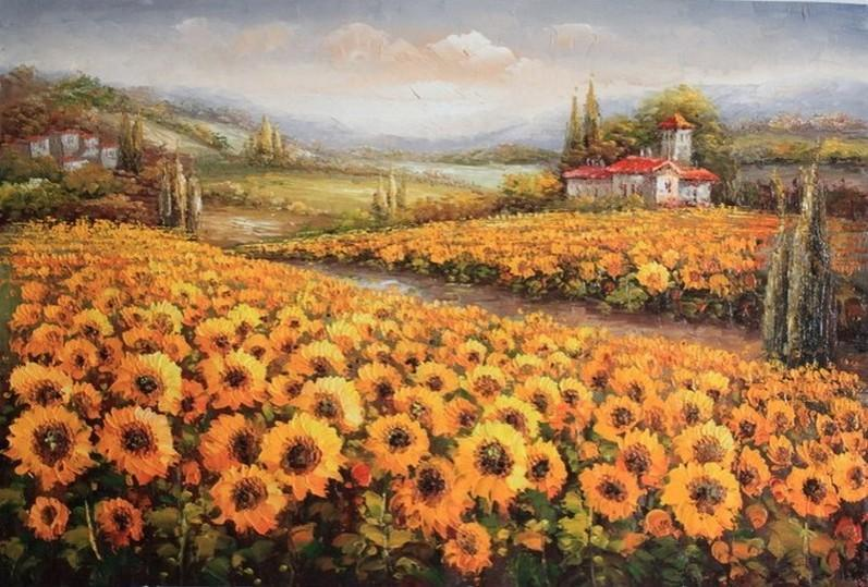 Wall Art, Sunflower Field, Flower Field, Large Art, Canvas Oil Painting, Landscape Art, Living Room Wall Art, Large Oil Painting, Canvas Art-Grace Painting Crafts