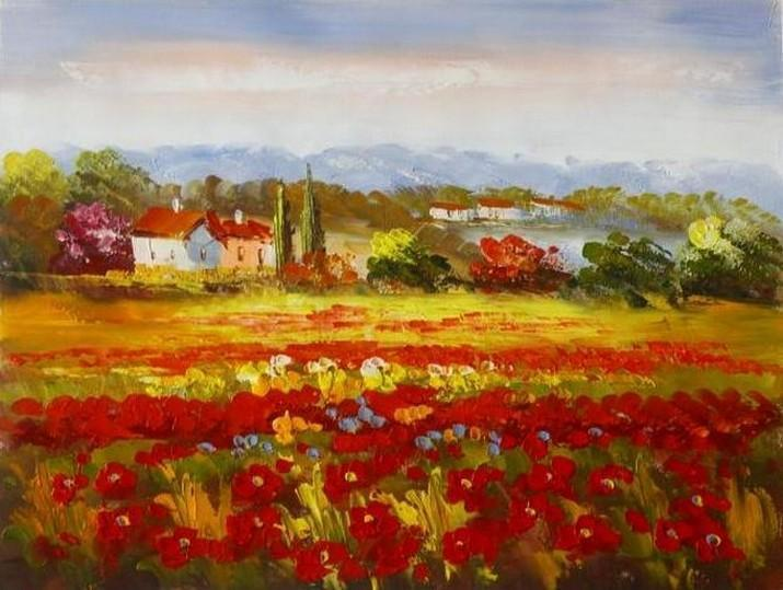 Landscape Painting, Impasto Wall Art, Red Poppy Field, Flower Field, Wall Art, Large Painting, Canvas Painting, Heavy Texture Art, Oil Painting, Canvas Art-Grace Painting Crafts