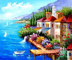 Landscape Painting, Mediterranean Sea Painting, Canvas Painting, Wall Art, Large Painting, Bedroom Wall Art, Oil Painting, Canvas Art, Boat Painting, Italy Summer Resort-Grace Painting Crafts
