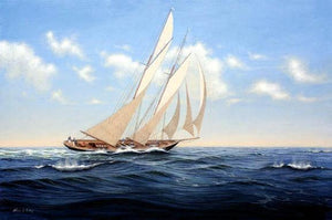 Canvas Art, Canvas Painting, Wall Art, Seascape Painting, Oil Painting, Large Painting, Dining Room Wall Art, Canvas Oil Painting, Canvas Art, Sailing Boat at Sea-Grace Painting Crafts