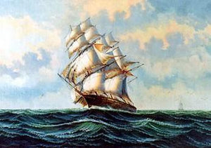 Canvas Art, Oil Painting, Canvas Painting, Bedroom Wall Art, Seascape Painting, Wall Art, Large Painting, Canvas Oil Painting, Canvas Art, Sailing Boat at Sea-Grace Painting Crafts