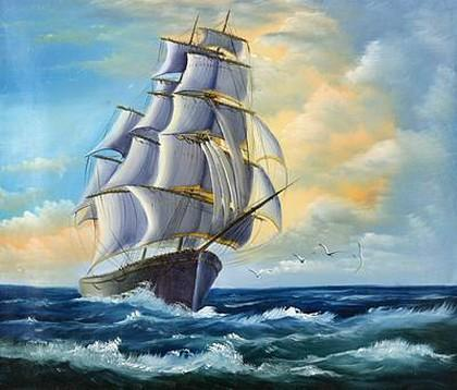 Canvas Oil Painting, Seascape Painting, Wall Art, Large Painting, Canvas Oil Painting, Canvas Art, Sailing Boat at Sea-Grace Painting Crafts