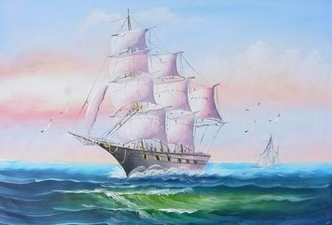 Canvas Painting, Canvas Art, Oil Painting, Canvas Wall Art, Seascape Painting, Wall Art, Large Painting, Canvas Oil Painting, Canvas Art, Sailing Boat at Sea-Grace Painting Crafts