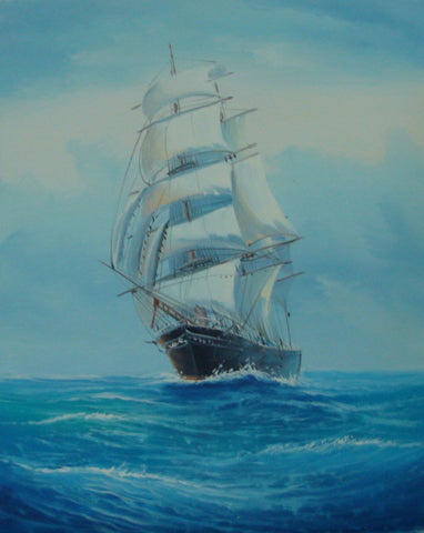 Canvas Art, Canvas Painting, Wall Art, Seascape Painting, Oil Painting, Large Painting, Dining Room Wall Art, Canvas Oil Painting, Canvas Wall Art, Sailing Boat at Sea-Grace Painting Crafts