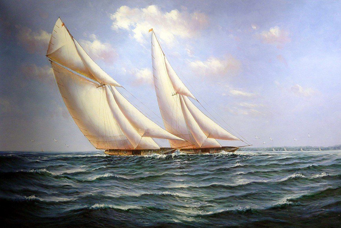 Living Room Wall Art, Canvas Art, Oil Painting, Canvas Painting, Seascape Painting, Wall Art, Large Painting, Canvas Oil Painting, Canvas Art, Sailing Boat at Sea-Grace Painting Crafts