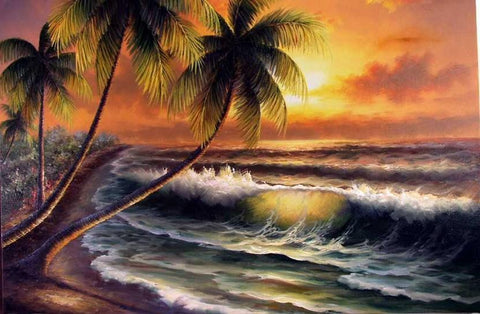 Canvas Art, Palm Tree, Sunrise Painting, Hand Painted Art, Hawaii Beach, Seashore Painting, Seascape Painting, Wall Art, Large Oil Painting, Oil Painting, Canvas Art-Grace Painting Crafts