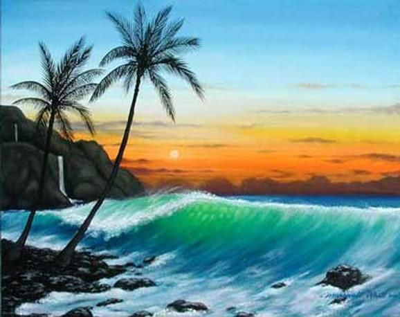 Hawaii Beach, Seashore Painting, Palm Tree, Big Wave, Canvas Art, Canvas Painting, Seascape Painting, Wall Art, Large Painting, Canvas Oil Painting, Canvas Art-Grace Painting Crafts
