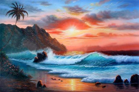 Hawaii Beach, Seashore Painting, Palm Tree, Sunrise Painting, Canvas Art, Canvas Painting, Seascape Painting, Wall Art, Large Painting, Canvas Oil Painting, Canvas Art-Grace Painting Crafts