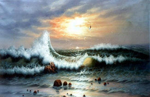 Seascape Art, Sunrise Painting, Canvas Art, pacific Ocean, Big Wave, Canvas Painting, Large Wall Art, Large Painting, Canvas Oil Painting, Canvas Art-Grace Painting Crafts