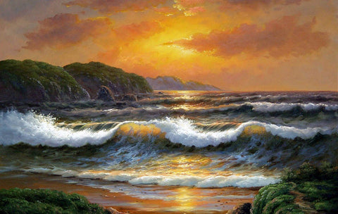 Hawaii Beach, Seashore Painting, Sunrise Painting, Canvas Art, Canvas Painting, Seascape Painting, Wall Art, Large Painting, Canvas Oil Painting, Canvas Art-Grace Painting Crafts