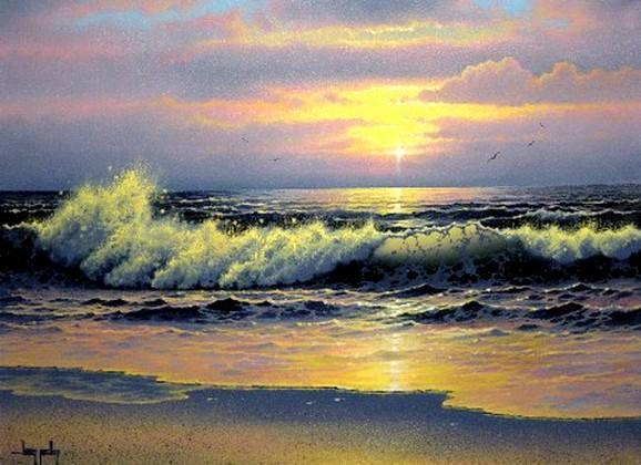Pacific Ocean, Big Wave, Seascape Art, Sunrise Painting, Canvas Art, Canvas Painting, Large Wall Art, Large Painting, Canvas Oil Painting, Canvas Art-Grace Painting Crafts