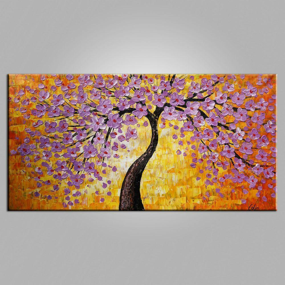Texture Wall Art, Contemporary Art, Tree Painting, Acrylic Paintings, Flower Painting, Bedroom Wall Art, Heavy Texture Painting-Grace Painting Crafts