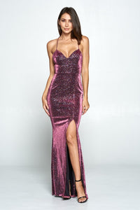 Glittered Sweet Heart Maxi W/Front Slot X-Back Dress