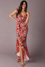 Load image into Gallery viewer, Floral Print Ruffled Slit Dress