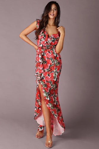 Floral Print Ruffled Slit Dress