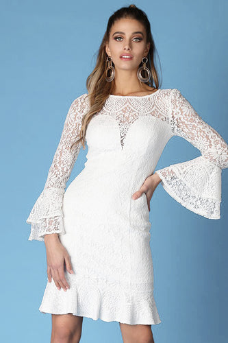 Long Ruffle Sleeve Lace White Dress