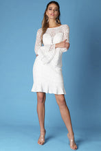 Load image into Gallery viewer, Long Ruffle Sleeve Lace White Dress