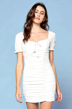 Load image into Gallery viewer, White Woven Dress w/ Smocking Detail